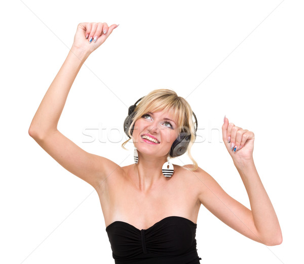 Mosolyog lány fejhallgató tánc izolált fehér Stock fotó © stepstock