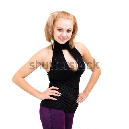 Mosolygó nő fehér vicces aranyos nő mosoly Stock fotó © stepstock