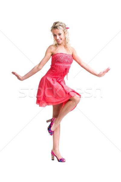 Barátságos mosolyog lány pózol teljes alakos izolált Stock fotó © stepstock