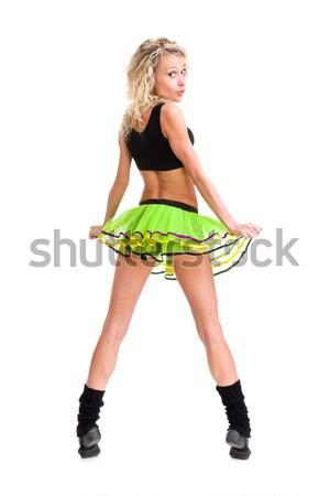 Mulher da aptidão posando isolado branco Foto stock © stepstock
