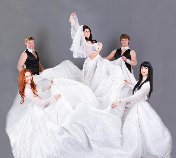 Esküvői ruha pózol szürke teljes alakos lány esküvő Stock fotó © stepstock