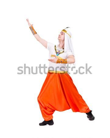 Sexy karnawałowe tancerzy stwarzające odizolowany biały Zdjęcia stock © stepstock