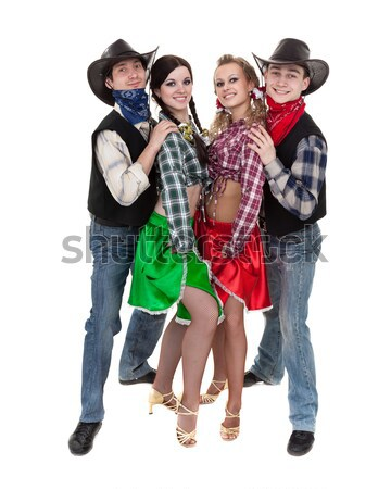 Stock photo: Smiling cowboys and cowgirls
