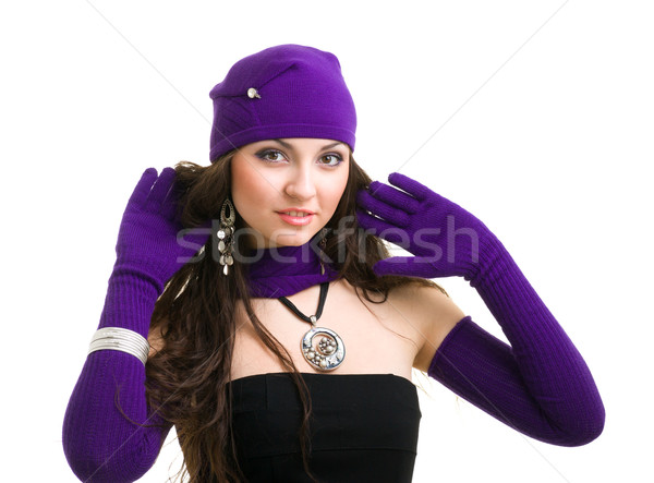woman in knit wool hat and mittens Stock photo © stepstock