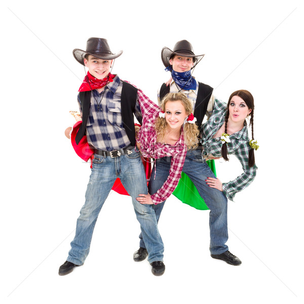 Smiling cowboys and cowgirls dancing Stock photo © stepstock