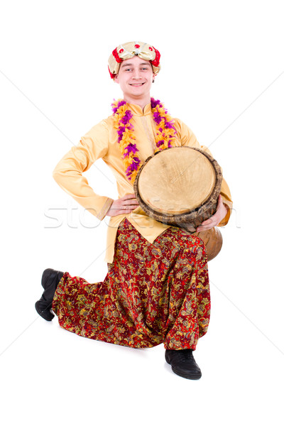 full length portrait of indian man with drum Stock photo © stepstock
