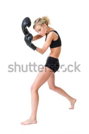 Boxeador mulher treinamento isolado branco Foto stock © stepstock