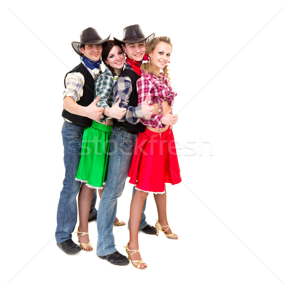 Stock photo: Smiling cowboys and cowgirls with thumbs up gesture