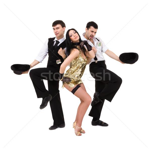 Trzy młodych tancerzy taniec odizolowany biały Zdjęcia stock © stepstock