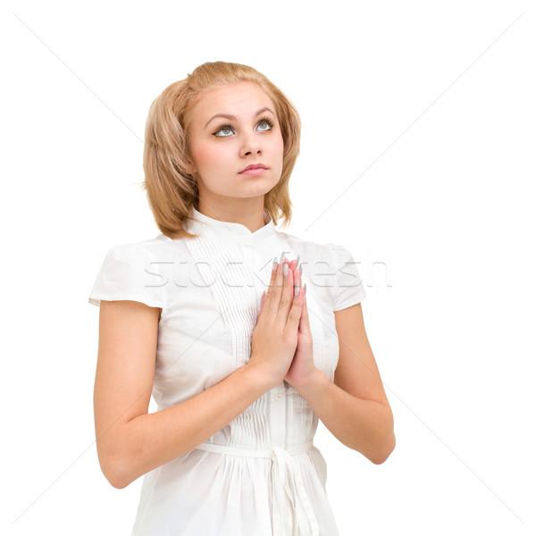 young woman praying Stock photo © stepstock