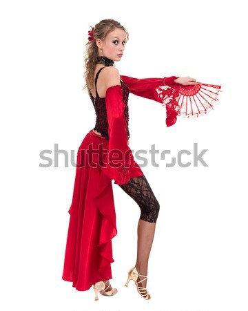 gypsy woman dancing with fan against isolated white background Stock photo © stepstock