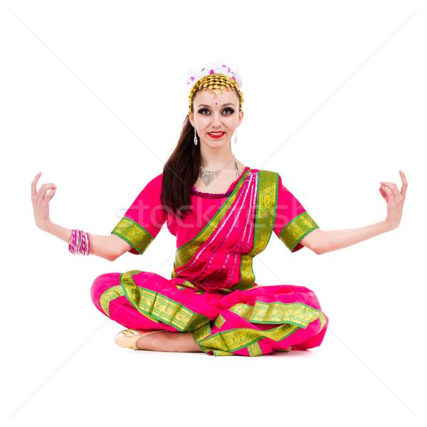 少女 インド 衣装 ヨガのポーズ 孤立した 白 ストックフォト © stepstock