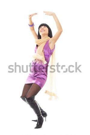 Jonge vrouw vliegen haren poseren witte glimlach Stockfoto © stepstock