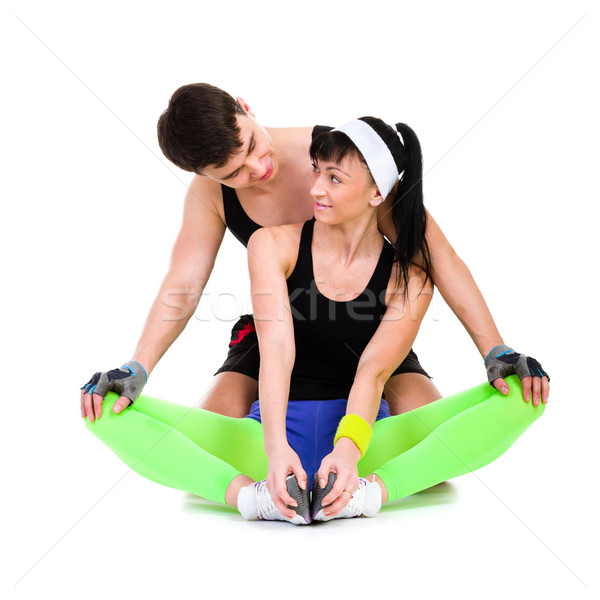 Atletisch man vrouw fitness oefening geschikt Stockfoto © stepstock