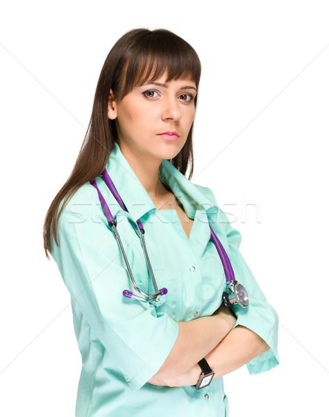 Sério mulher jovem médico médico retrato estetoscópio Foto stock © stepstock
