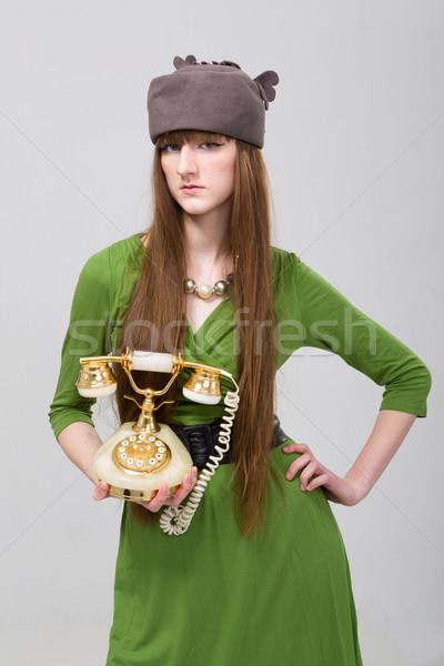 Meisje oude stijl telefoon vrouw wachten Stockfoto © stepstock