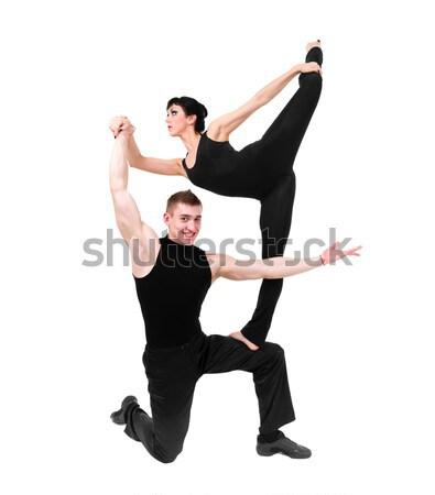 Kettő fiatal modern pózol fehér sportok Stock fotó © stepstock