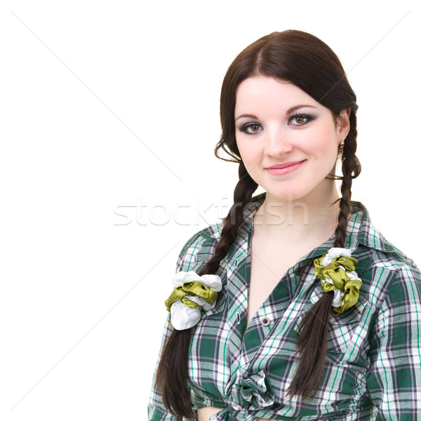 friendly smiling girl with pigtails Stock photo © stepstock