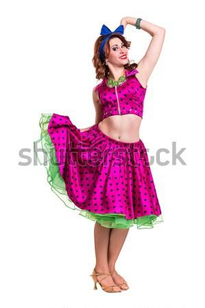 Tam uzunlukta kabare kadın Retro elbise şehvetli Stok fotoğraf © stepstock