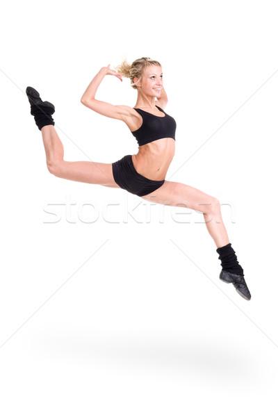 Fitnessz nő ugrik öröm fogyókúra izolált fehér Stock fotó © stepstock