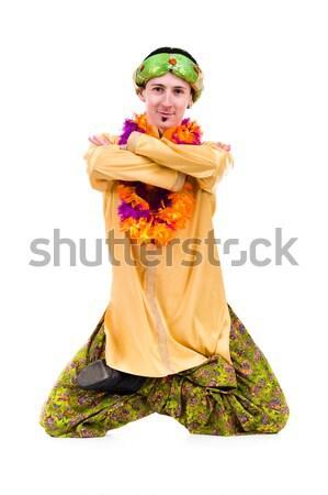Férfi jóga teljes alakos portré indiai stúdió Stock fotó © stepstock