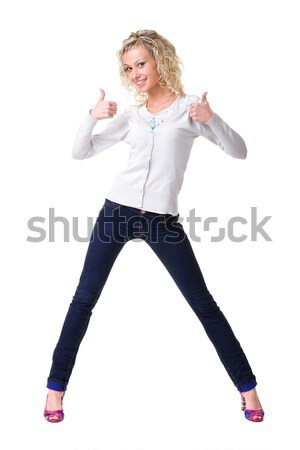 Young happy woman showing thumbsup Stock photo © stepstock