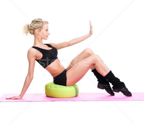 Genç fitness woman egzersiz yalıtılmış beyaz tam uzunlukta Stok fotoğraf © stepstock