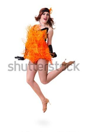 Atlama seksi kadın para yalıtılmış beyaz kadın Stok fotoğraf © stepstock