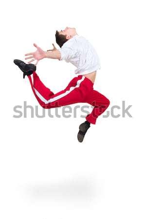 Moderne man danser springen witte dans Stockfoto © stepstock