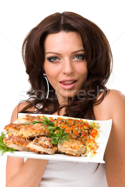 Young woman posing with a meal Stock photo © stepstock