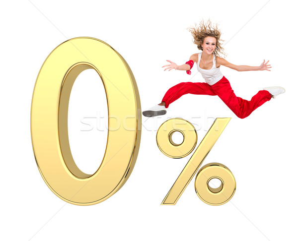 girl jumping above gold 3d zero percent sign Stock photo © stepstock