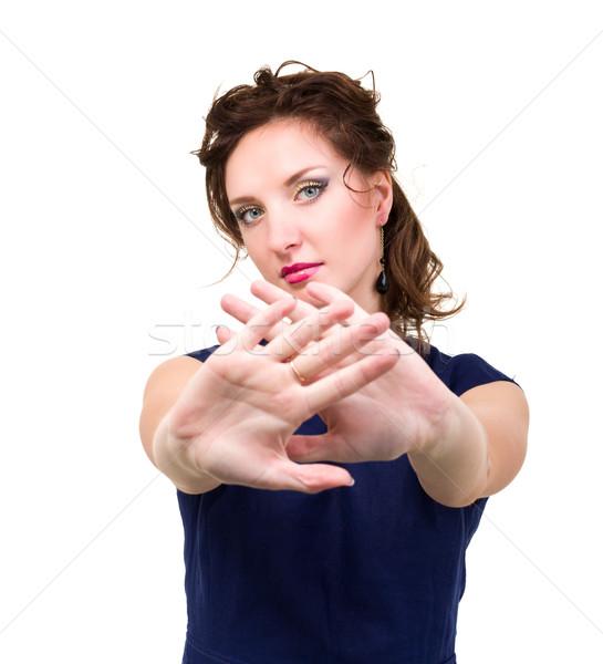Mulher mãos assinar pare retrato jovem Foto stock © stepstock