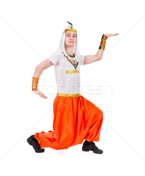 Dancing pharaoh wearing a egyptian costume. Stock photo © stepstock