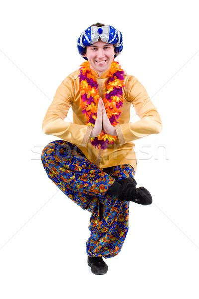 Férfi jóga testmozgás póz namaste izolált Stock fotó © stepstock