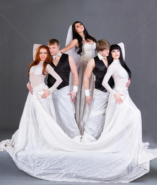 Hochzeitskleid posiert grau Mädchen Hochzeit Stock foto © stepstock