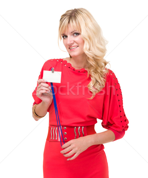 young woman with badge Stock photo © stepstock