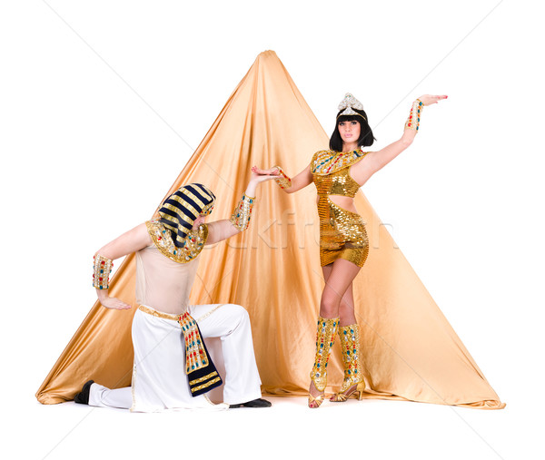 dancers dressed as Egyptian posing against pyramid Stock photo © stepstock