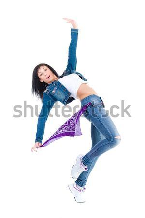 Moderne stijl danser poseren witte vrouw gymnasium Stockfoto © stepstock