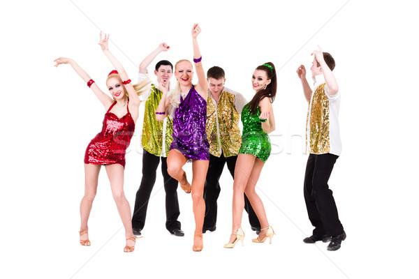 дискотеку танцовщицы команда танцы изолированный белый Сток-фото © stepstock