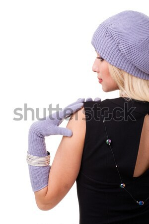 young woman wearing a winter cap Stock photo © stepstock