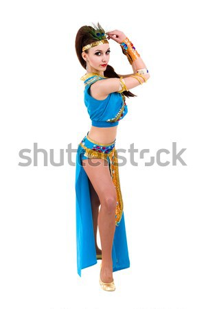Dancing pharaoh woman wearing a egyptian costume. Stock photo © stepstock