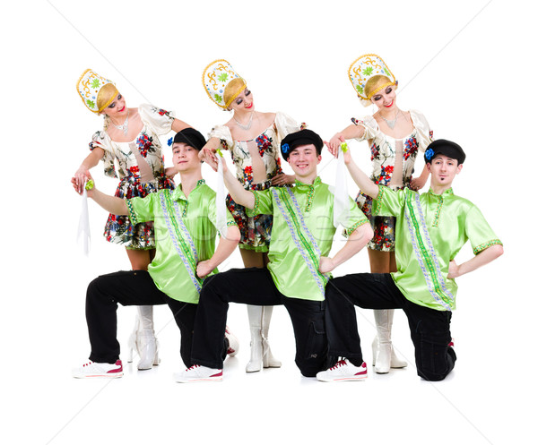 dancer team wearing a folk ukrainian costumes Stock photo © stepstock