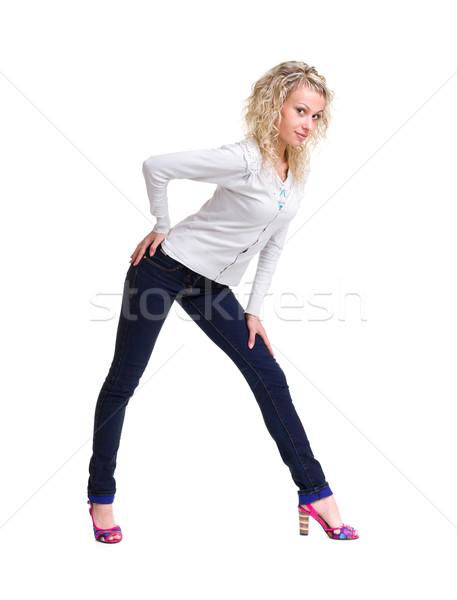 Stock fotó: Fiatal · nő · áll · egészalakos · farmer · visel · gyönyörű