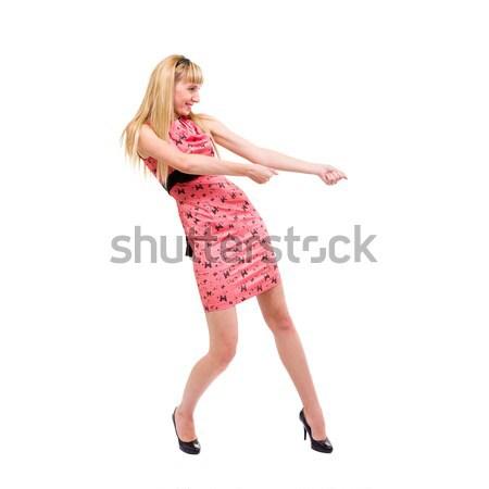 女性 虚数 ロープ 孤立した 白 ストックフォト © stepstock