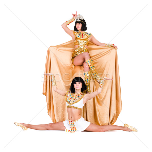 Dancing pharaoh women wearing a egyptian costume. Stock photo © stepstock
