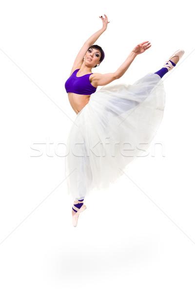 ballerina jumping against isolated white background Stock photo © stepstock