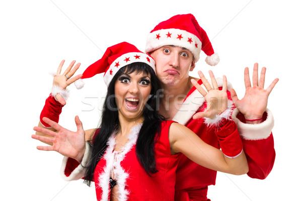 Stockfoto: Gelukkig · kerstman · kleding · poseren