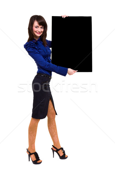 young business woman showing blank signboard Stock photo © stepstock