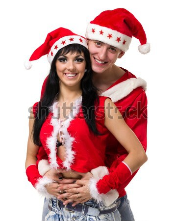 couple wearing santa claus clothes Stock photo © stepstock