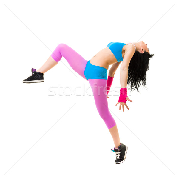 Modern teenage girl dancing Stock photo © stepstock